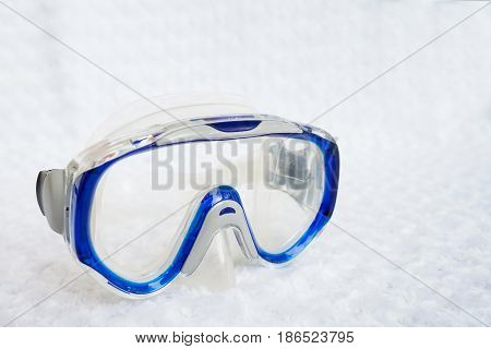 Scuba diving mask and snorkeling on white background