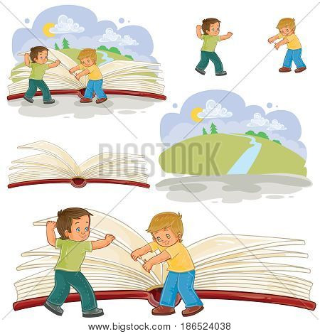 Set of vector illustrations of little boys turn pages great book, read the book of life. Metaphor