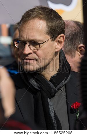 BERLIN - MAY 01 2016: Governing Mayor of Berlin Michael Mueller. Members of trade unions workers and employees at the demonstration on the occasion of Labour day.