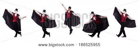 Man magician isolated on white