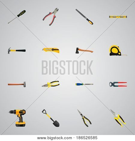 Realistic Length Roulette, Handle Hit, Hatchet Vector Elements. Set Of Construction Realistic Symbols Also Includes Hammer, Ax, Tape Objects.