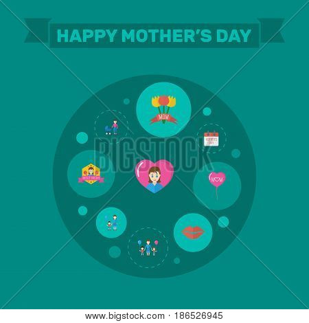 Happy Mother's Day Flat Layout Design With Children, Stroller And Tulips Symbols. Lovely Mom Beautiful Feminine Design For Social, Web And Print.