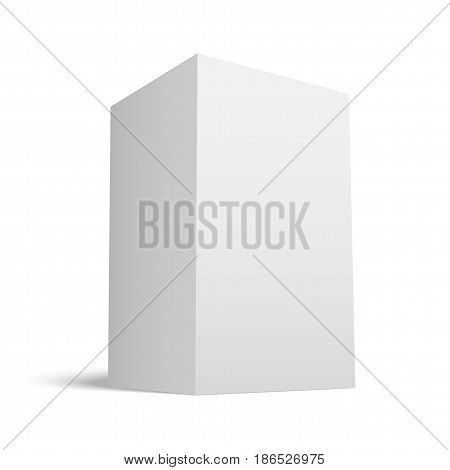 White realistic Box with grey Shades. Geometric Paper Model for School