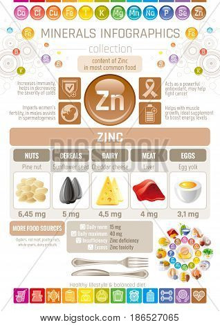 Zinc Mineral supplement rich food icons. Healthy eating flat icon set, text letter logo, isolated background. Diet Infographics chart banner poster. Table vector illustration, human health benefit