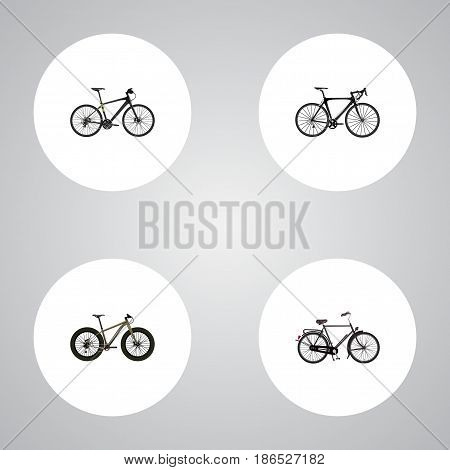 Realistic Training Vehicle, Bmx, Exercise Riding And Other Vector Elements. Set Of Lifestyle Realistic Symbols Also Includes Hybrid, Extreme, Velocipede Objects.
