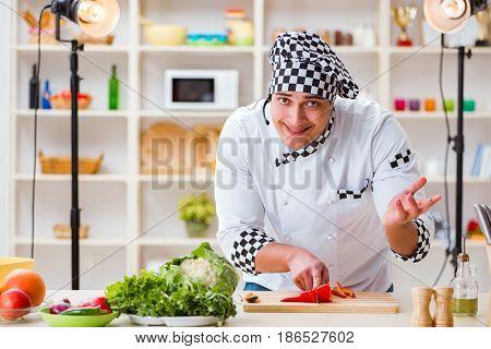 Food cooking tv show in the studio