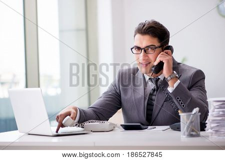 Angry helpdesk operator yelling in office