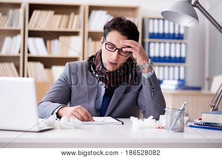 Sick ill businessman in the office
