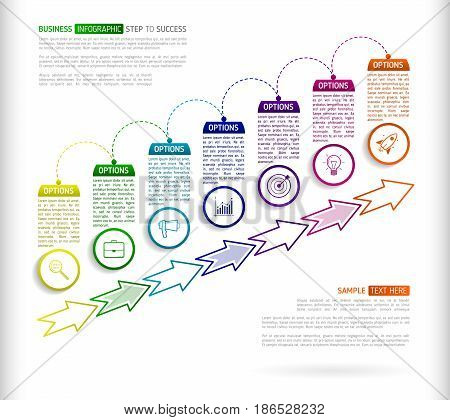 Stairs infographic design template with 7 multi colored successively connected circular elements with icons and text boxes. Abstract seven stairs to success with arrows.