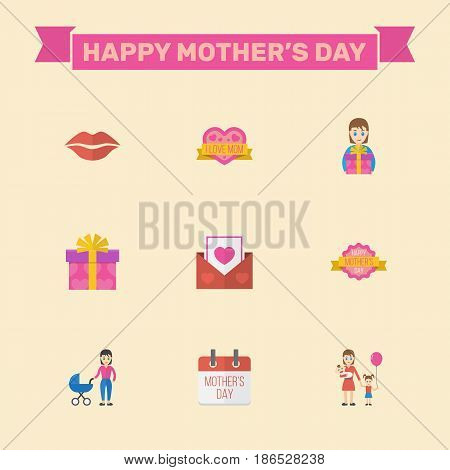 Happy Mother's Day Flat Layout Design With Woman, Gift To Mom And Design Symbols. Lovely Mom Beautiful Feminine Design For Social, Web And Print.