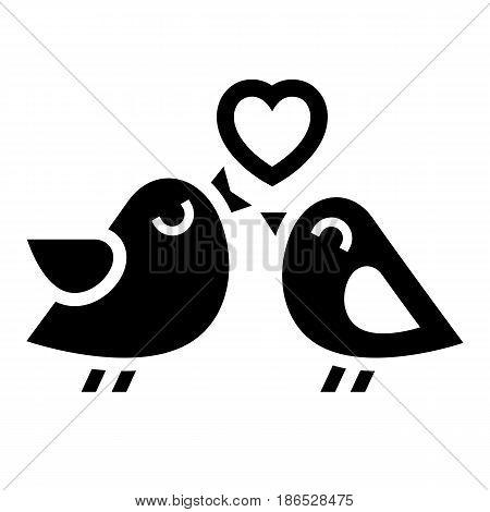 Couple birds. Black icon isolated on white background