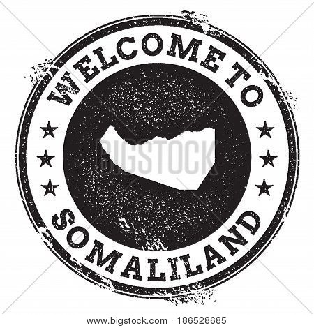 Vintage Passport Welcome Stamp With Somaliland Map. Grunge Rubber Stamp With Welcome To Somaliland T
