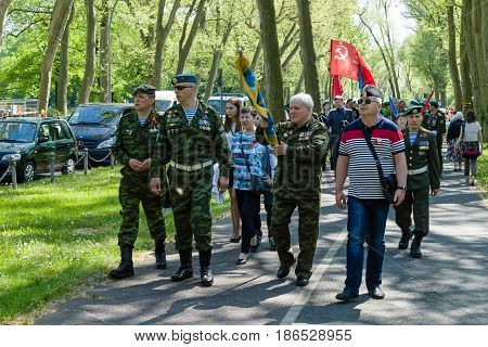 BERLIN - MAY 09 2016: Victory Day in Treptower Park. Military veterans in the uniform of Airborne Troops of Russia.