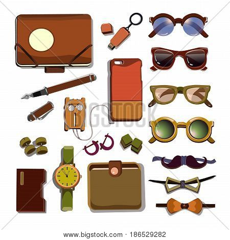 Trendy hipster accesories set with colorful glasses device cases cufflinks flash drive clock pen bow ties headphone isolated vector illustration