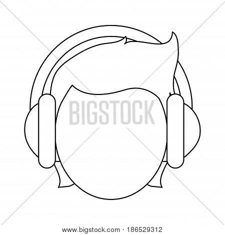 person with headphones icon image vector illustration design  single black line