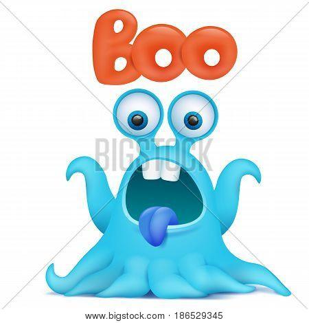 Blue octopus cartoon alien monster saying boo. Vector illustration
