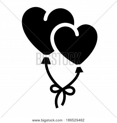 Ballons. Black icon isolated on white background