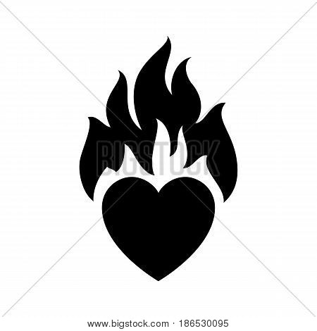Flame love. Black icon isolated on white background