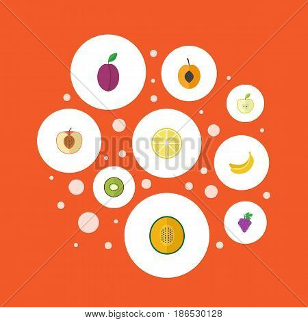 Flat Peach, Jungle Fruit, Muskmelon And Other Vector Elements. Set Of Berry Flat Symbols Also Includes Lime, Apricot, Jonagold Objects.