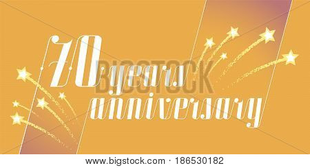 70 years anniversary vector icon logo. Graphic design element or banner for 70th anniversary