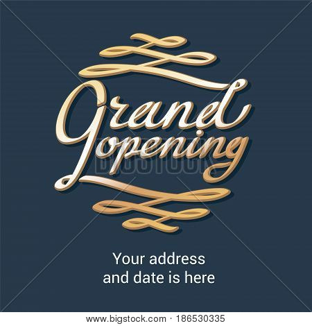 Grand opening vector background with lettering. Template design of banner for store opening event