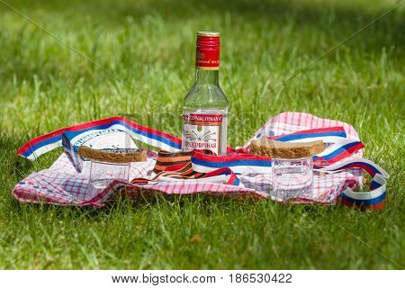 BERLIN - MAY 09 2016: Victory Day in Treptower Park (Soviet war memorial). Mass grave of fallen soldiers and officers who liberated Berlin from the Nazis. Russian tradition at the grave - vodka black bread and cigarettes.