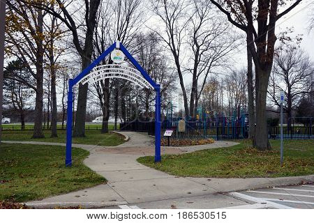 NEW BUFFALO, MICHIGAN / UNITED STATES - NOVEMBER 20, 2016: A play ground, designed for children of all abilities, is available for travelers in the New Buffalo Welcome Center 707 rest area.