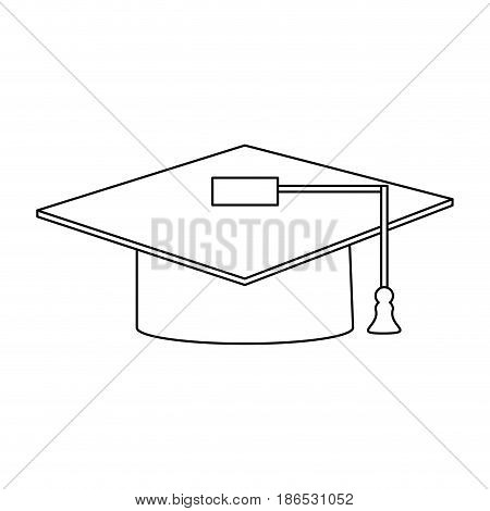 graduation cap icon image vector illustration design  single black line