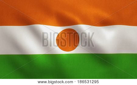 Niger flag with fabric texture. 3D illustration.