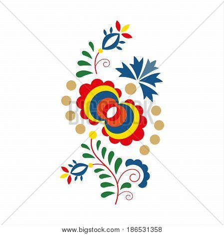 Traditional folk ornament and pattern floral embroidery symbol isolated on white background vector illustration