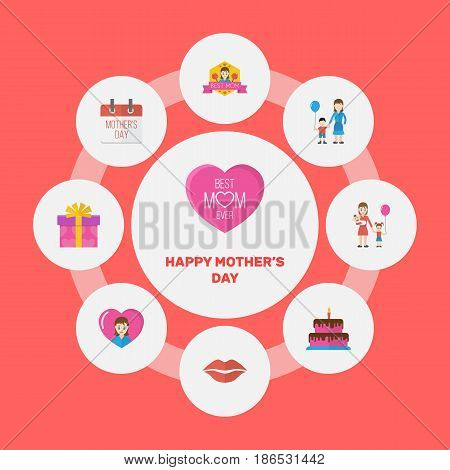 Happy Mother's Day Flat Layout Design With Pastry, Heart And Present Symbols. Lovely Mom Beautiful Feminine Design For Social, Web And Print.