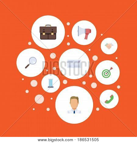 Flat Loudspeaker, Envelope, Telephone And Other Vector Elements. Set Of Employment Flat Symbols Also Includes Phone, Partnership, Office Objects.