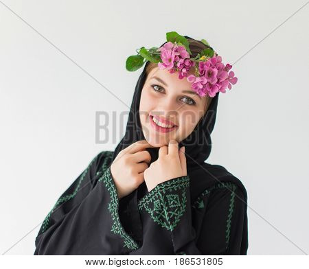 happy beatiful woman with flower crown