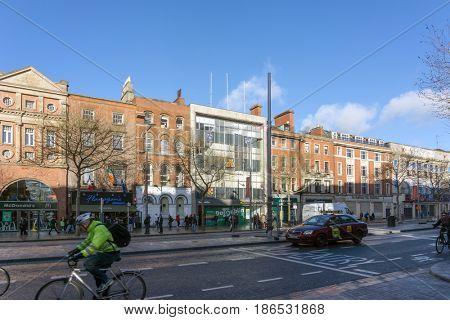 DUBLIN, IRELAND - March 31, 2017: Street view of church landmarks of Dublin Ireland