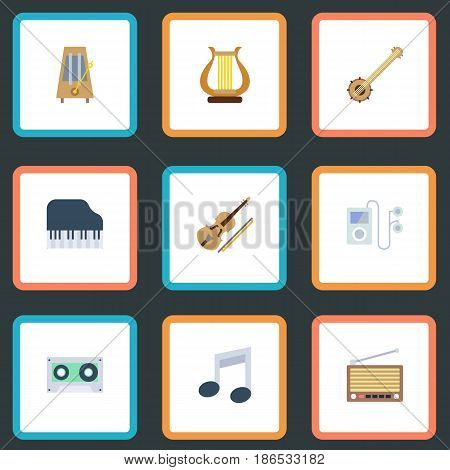 Flat Tone Symbol, Banjo, Rhythm Motion And Other Vector Elements. Set Of Melody Flat Symbols Also Includes Fiddle, String, Tuner Objects.