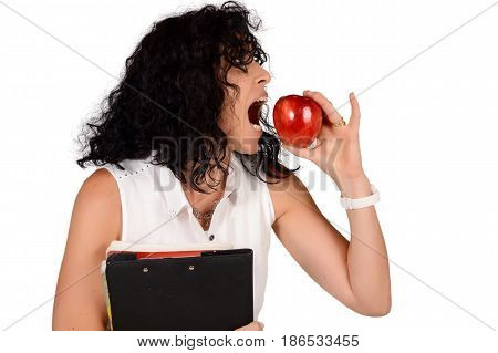 Portrait of beautiful school teacher with an apple. Education concept. Isolated white background.