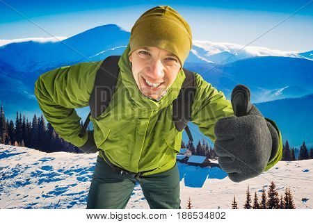 Smiling Active Hiker Man With Backpack