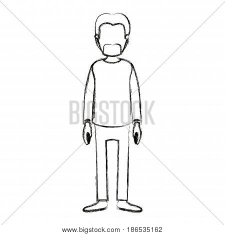 blurred silhouette cartoon full body faceless male person with beard and moustache with clothing vector illustration