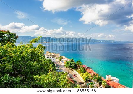 Jamaica island, Montego Bay on Caribbean beach.