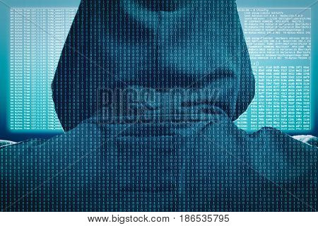 Internet cyber crime concept. Hacker working on a code on a hologram head up display.