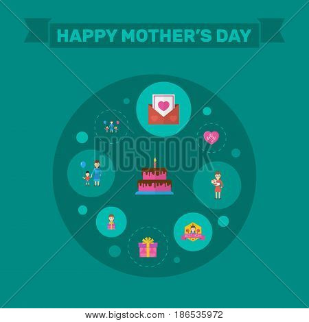 Happy Mother's Day Flat Layout Design With Pastry, Gift To Mom And Son Symbols. Lovely Mom Beautiful Feminine Design For Social, Web And Print.