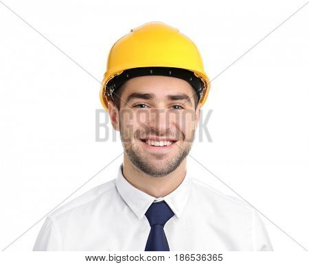 Handsome young engineer on white background