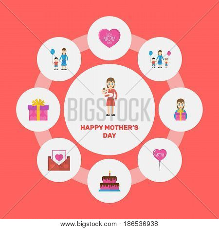 Happy Mother's Day Flat Layout Design With Gift To Mom, Children And Envelope Symbols. Lovely Mom Beautiful Feminine Design For Social, Web And Print.