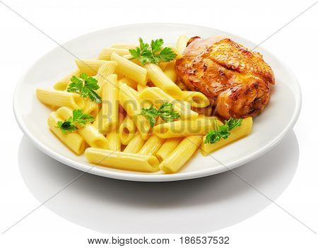 Cooked penne rigate pasta with parsley and roasted chicken thigh on white ceramic plate isolated on white background poster
