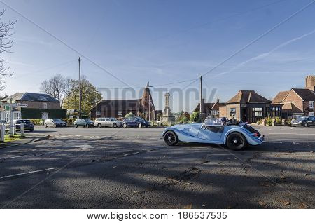 GOUDHURST, KENT, UK, 31ST OCTOBER 2014 - Blue Morgan car in the pretty village of Goudhurst Kent UK