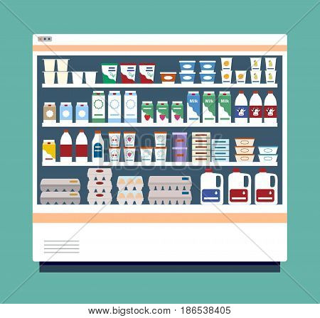 Commercial refrigerator full of dairy products. Flat styled vector illustration.