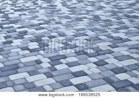 A Detailed Photo Of The Square, Laid Out Of Modern Paving Stone With Rounded Corners. Accurate Desig