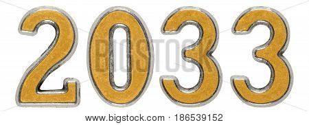 2033 Inscription, Isolated On White Background, 3D Render