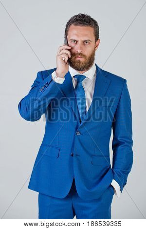 Man Or Businessman With Mobile Or Cell Phone