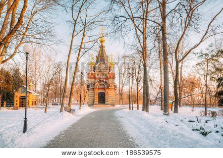 Gomel, Belarus. Chapel-tomb Of Paskevich 1870-1889 Years In City Park At Sunny Winter Morning.